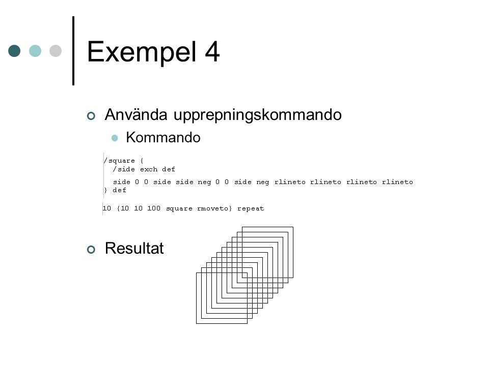Exempel 5 del 1 Initiera variabler Uppdatera x-värdet Uppdatera y-värdet Program som skriver ut 100 circlar med olika färg Uppdatera r Rita en cirkel Ändra färgen till cirklarna