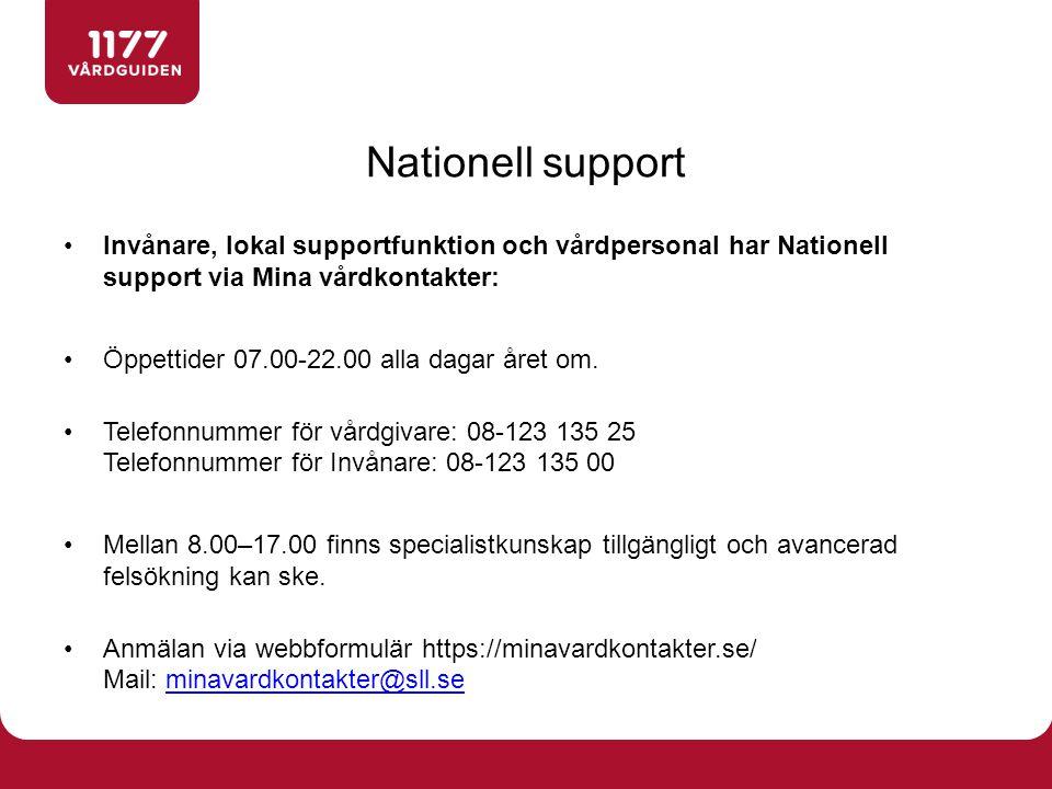 Nationell support Invånare, lokal supportfunktion och vårdpersonal har Nationell support via Mina vårdkontakter: Öppettider 07.00-22.00 alla dagar åre