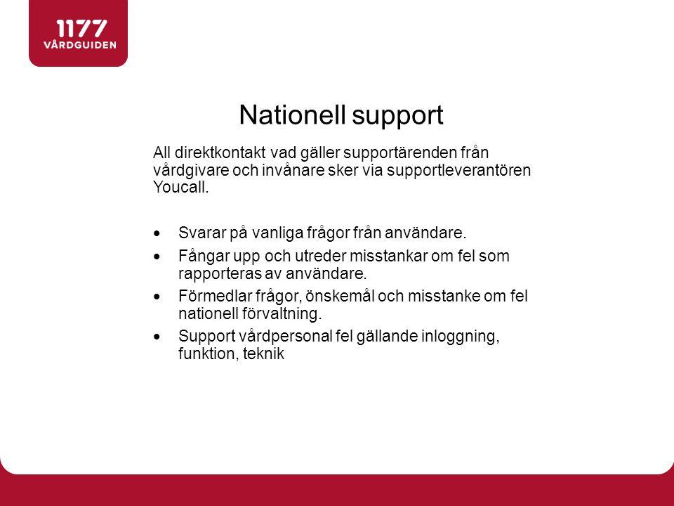 Nationell support All direktkontakt vad gäller supportärenden från vårdgivare och invånare sker via supportleverantören Youcall.  Svarar på vanliga f