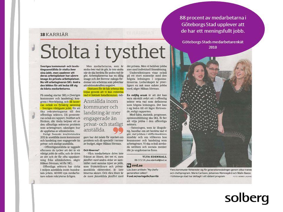 88 procent av medarbetarna i Göteborgs Stad upplever att de har ett meningsfullt jobb.