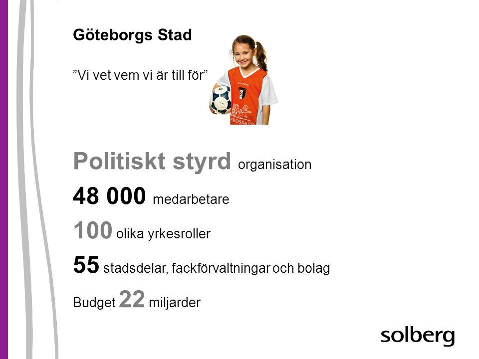 Göteborgs Stad Vi vet vem vi är till för Politiskt styrd organisation 48 000 medarbetare 100 olika yrkesroller 55 stadsdelar, fackförvaltningar och bolag Budget 22 miljarder