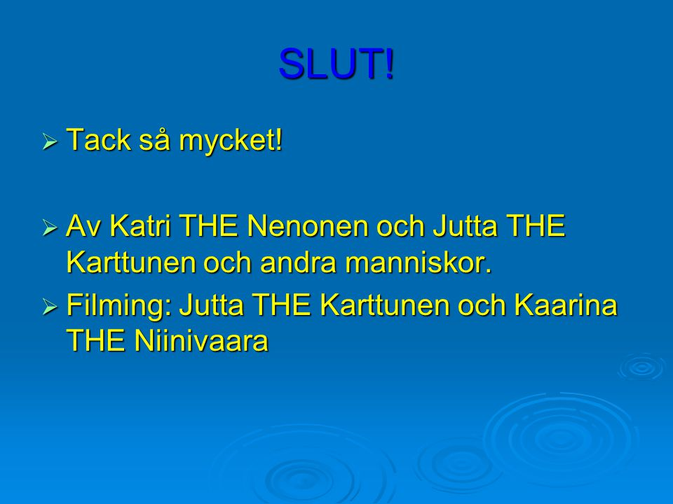 SLUT!  Tack så mycket!  Av Katri THE Nenonen och Jutta THE Karttunen och andra manniskor.  Filming: Jutta THE Karttunen och Kaarina THE Niinivaara