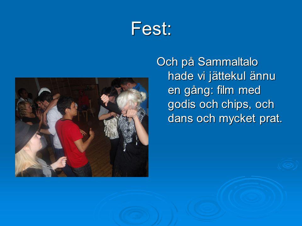 Fest: Och på Sammaltalo hade vi jättekul ännu en gång: film med godis och chips, och dans och mycket prat.