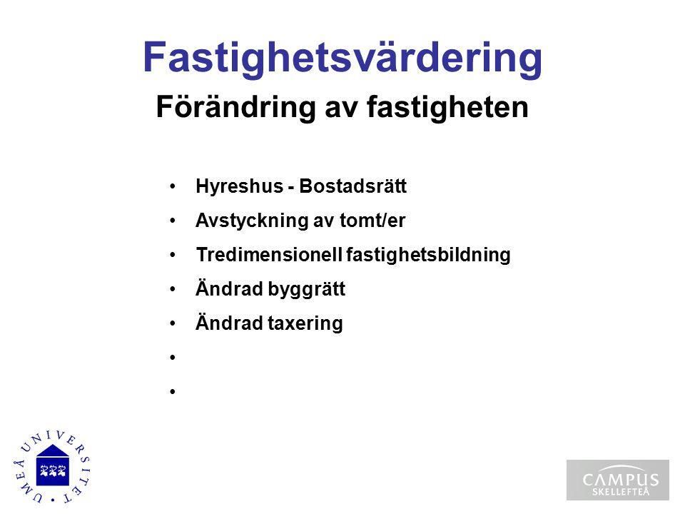 Fastighetsvärdering Förändring av fastigheten Hyreshus - Bostadsrätt Avstyckning av tomt/er Tredimensionell fastighetsbildning Ändrad byggrätt Ändrad taxering