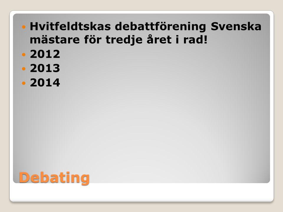 Debating Hvitfeldtskas debattförening Svenska mästare för tredje året i rad! 2012 2013 2014