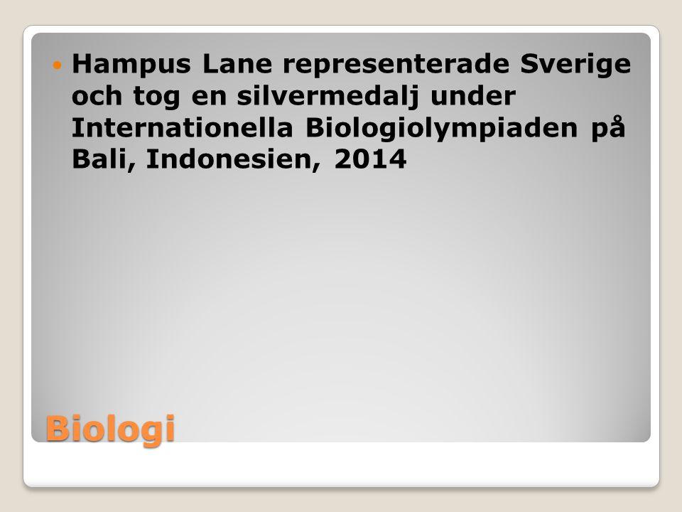 Biologi Hampus Lane representerade Sverige och tog en silvermedalj under Internationella Biologiolympiaden på Bali, Indonesien, 2014