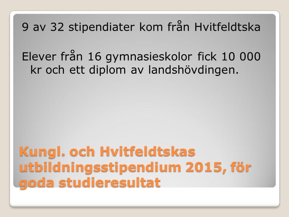 Kungl. och Hvitfeldtskas utbildningsstipendium 2015, för goda studieresultat 9 av 32 stipendiater kom från Hvitfeldtska Elever från 16 gymnasieskolor
