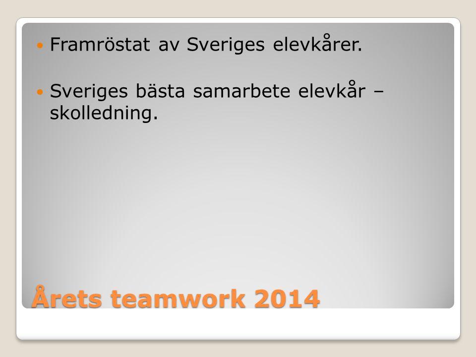 Årets teamwork 2014 Framröstat av Sveriges elevkårer. Sveriges bästa samarbete elevkår – skolledning.
