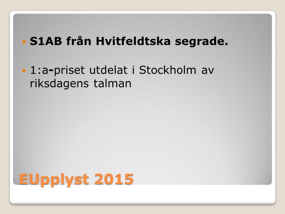 EUpplyst 2015 S1AB från Hvitfeldtska segrade. 1:a-priset utdelat i Stockholm av riksdagens talman