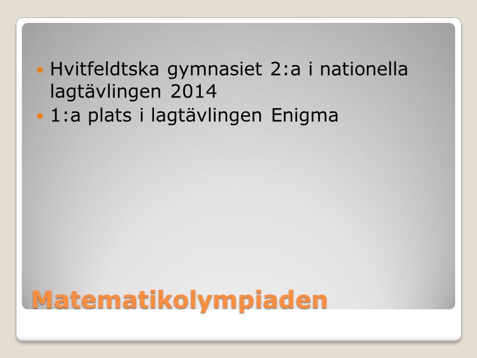 Matematikolympiaden Hvitfeldtska gymnasiet 2:a i nationella lagtävlingen 2014 1:a plats i lagtävlingen Enigma
