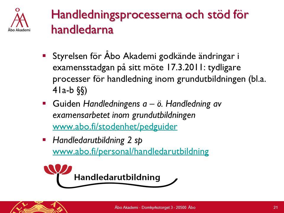 Handledningsprocesserna och stöd för handledarna  Styrelsen för Åbo Akademi godkände ändringar i examensstadgan på sitt möte 17.3.2011: tydligare processer för handledning inom grundutbildningen (bl.a.