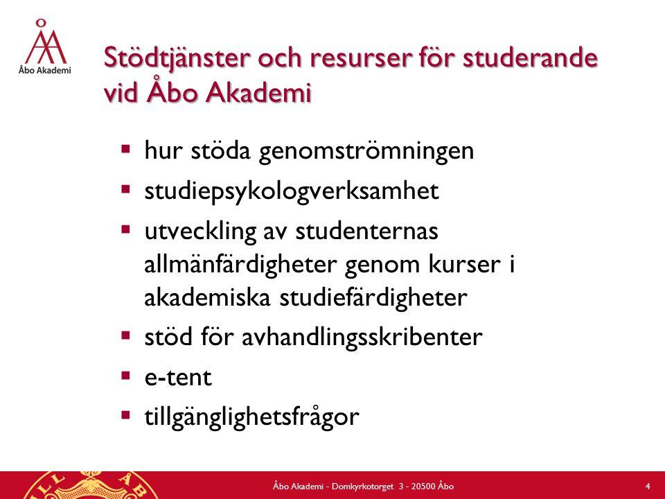Stödtjänster och resurser för studerande vid Åbo Akademi  hur stöda genomströmningen  studiepsykologverksamhet  utveckling av studenternas allmänfärdigheter genom kurser i akademiska studiefärdigheter  stöd för avhandlingsskribenter  e-tent  tillgänglighetsfrågor Åbo Akademi - Domkyrkotorget 3 - 20500 Åbo 4