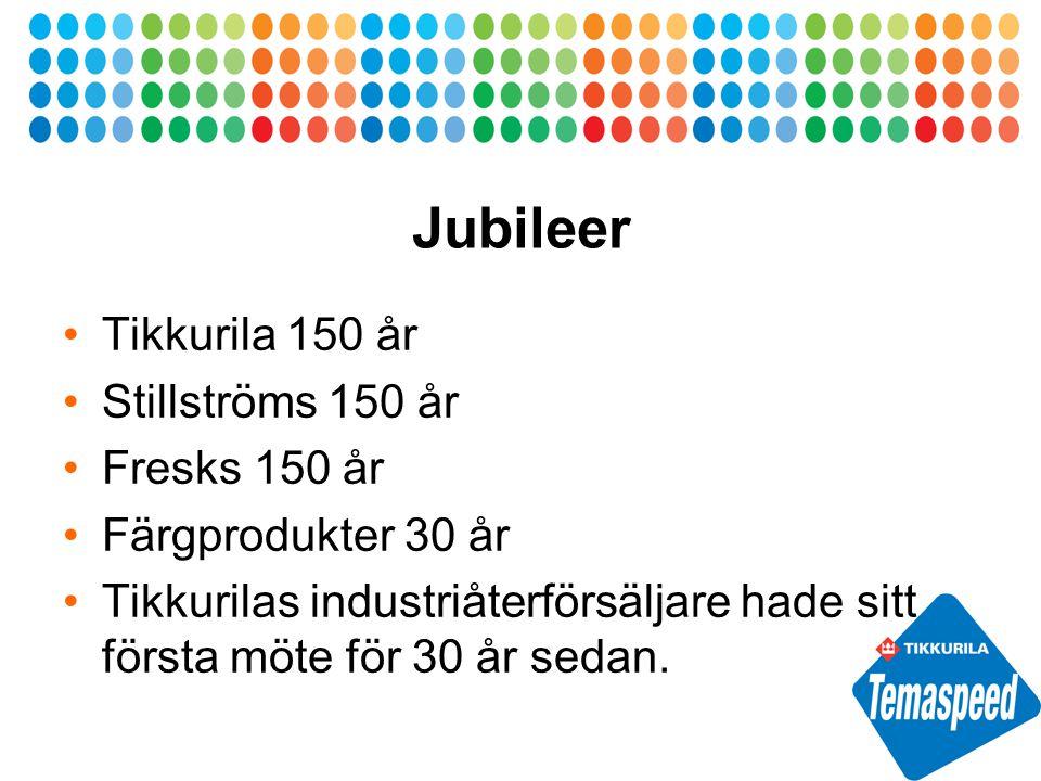 Jubileer Tikkurila 150 år Stillströms 150 år Fresks 150 år Färgprodukter 30 år Tikkurilas industriåterförsäljare hade sitt första möte för 30 år sedan.