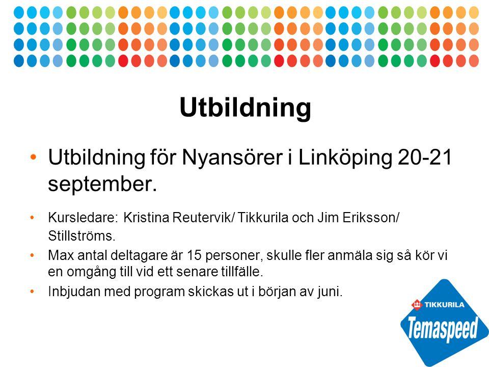 Utbildning Utbildning för Nyansörer i Linköping 20-21 september.