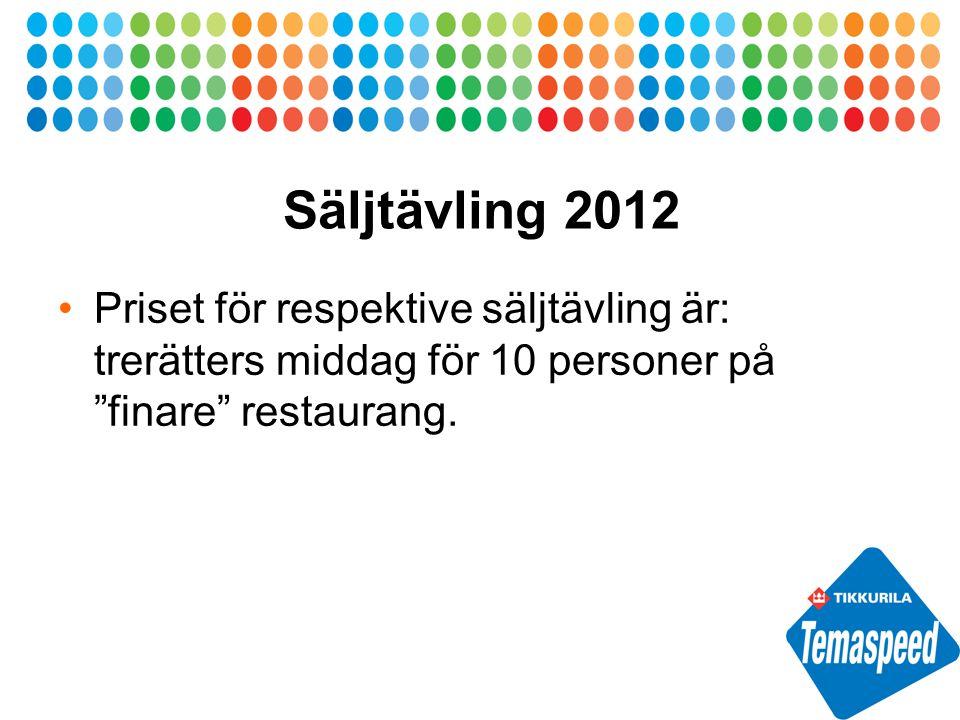 Säljtävling 2012 Priset för respektive säljtävling är: trerätters middag för 10 personer på finare restaurang.