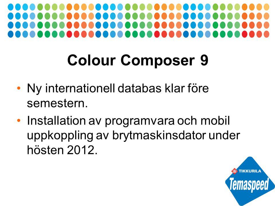 Colour Composer 9 Ny internationell databas klar före semestern.