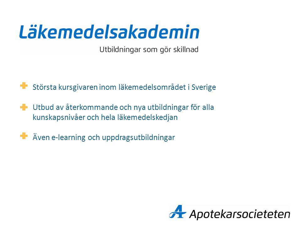 Största kursgivaren inom läkemedelsområdet i Sverige Utbud av återkommande och nya utbildningar för alla kunskapsnivåer och hela läkemedelskedjan Även e-learning och uppdragsutbildningar