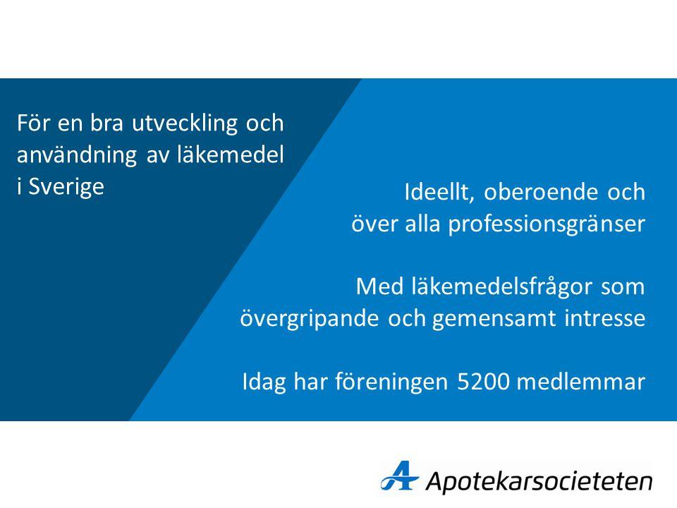 Ideellt, oberoende och över alla professionsgränser Med läkemedelsfrågor som övergripande och gemensamt intresse Idag har föreningen 5200 medlemmar För en bra utveckling och användning av läkemedel i Sverige