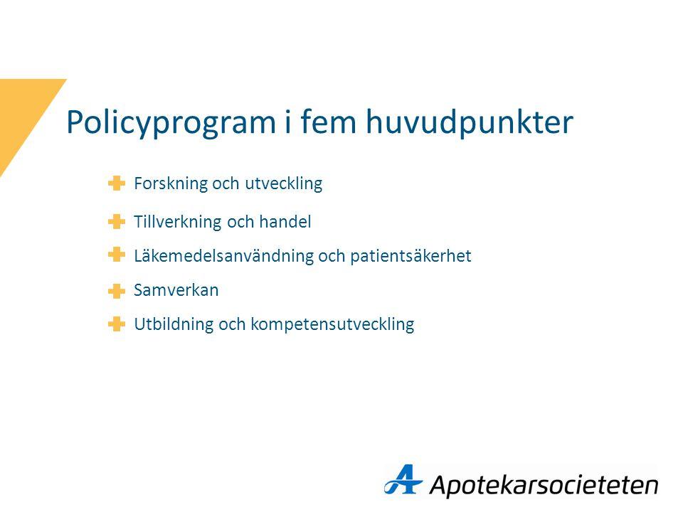 Policyprogram i fem huvudpunkter Forskning och utveckling Tillverkning och handel Läkemedelsanvändning och patientsäkerhet Samverkan Utbildning och kompetensutveckling