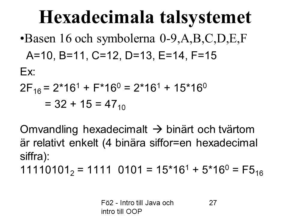 Fö2 - Intro till Java och intro till OOP 27 Hexadecimala talsystemet Basen 16 och symbolerna 0-9,A,B,C,D,E,F A=10, B=11, C=12, D=13, E=14, F=15 Ex: 2F 16 = 2*16 1 + F*16 0 = 2*16 1 + 15*16 0 = 32 + 15 = 47 10 Omvandling hexadecimalt  binärt och tvärtom är relativt enkelt (4 binära siffor=en hexadecimal siffra): 11110101 2 = 1111 0101 = 15*16 1 + 5*16 0 = F5 16
