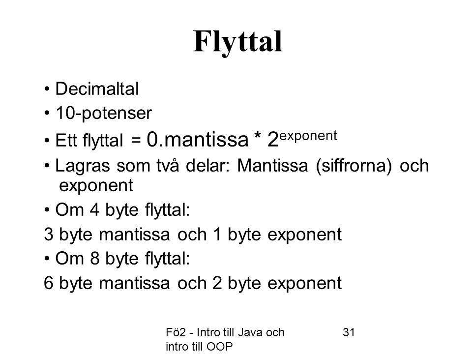 Fö2 - Intro till Java och intro till OOP 31 Flyttal Decimaltal 10-potenser Ett flyttal = 0.mantissa * 2 exponent Lagras som två delar: Mantissa (siffrorna) och exponent Om 4 byte flyttal: 3 byte mantissa och 1 byte exponent Om 8 byte flyttal: 6 byte mantissa och 2 byte exponent