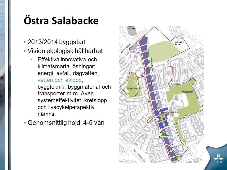 Östra Salabacke ETAPP 1 2013/2014 byggstart Vision ekologisk hållbarhet Effektiva innovativa och klimatsmarta lösningar; energi, avfall, dagvatten, vatten och avlopp, byggteknik, byggmaterial och transporter m.m.