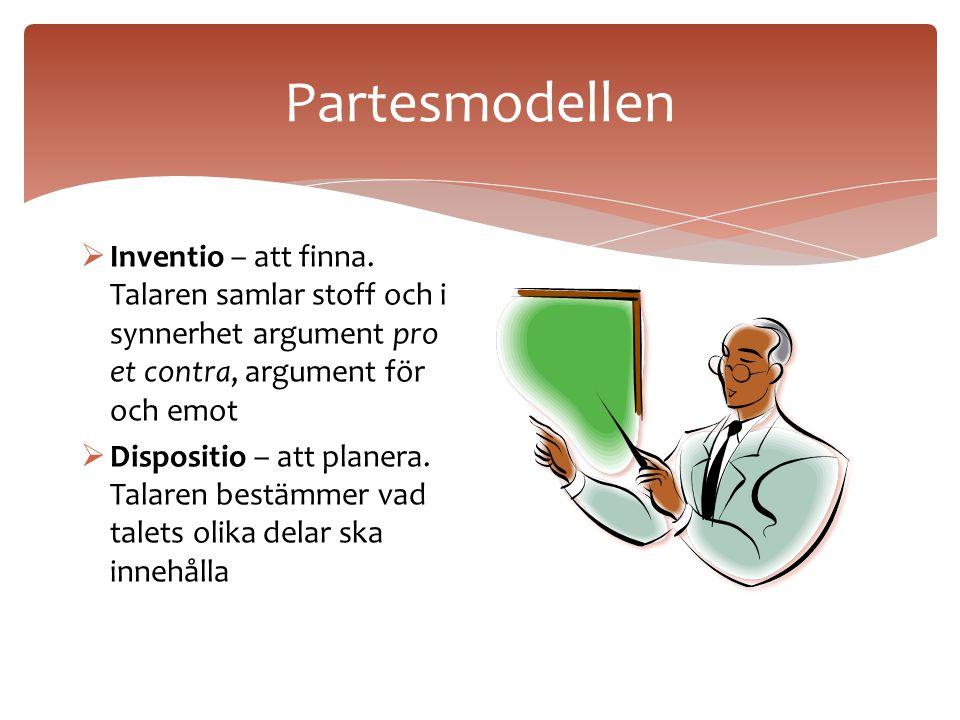 När man ska skriva ett tal ska man enligt den antika retoriken använda partesmodellen som består av följande delar:  Inventio  Dispositio  Elocutio