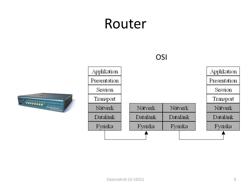 OSI-modellen Datorteknik 1A V20117 NrSkiktSvarar förExempel 7Applikation Tillämpningar.