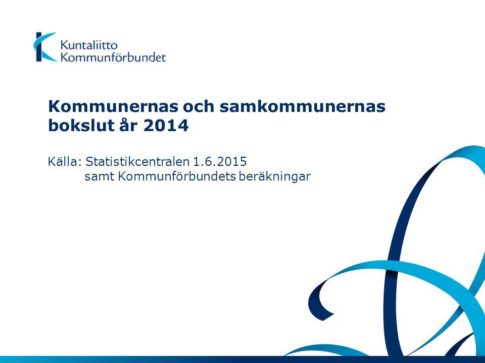 Kommunernas och samkommunernas bokslut år 2014 Källa: Statistikcentralen 1.6.2015 samt Kommunförbundets beräkningar
