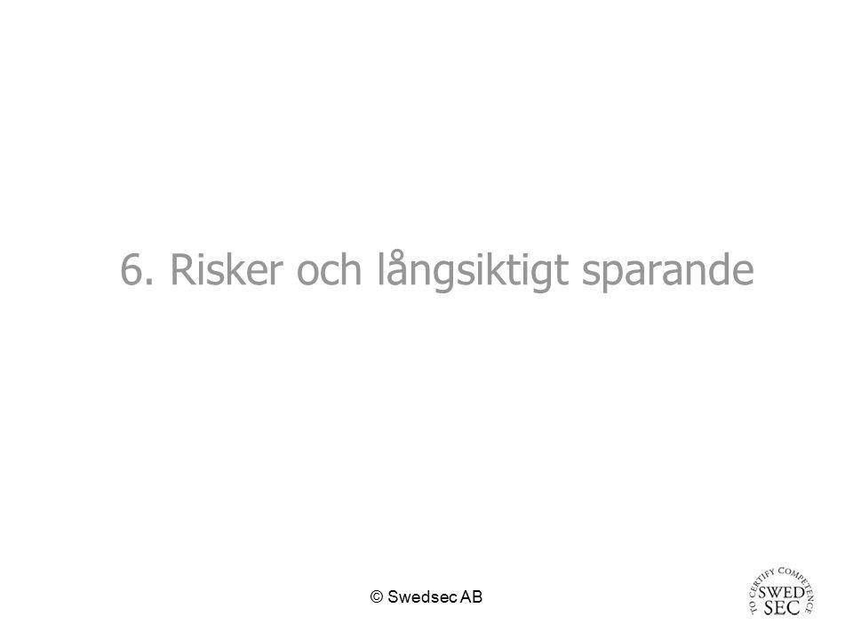 © Swedsec AB Definitioner Risker: –variation i värdet av placeringen –(varians, standardavvikelse) –Durationsrisk –variation jämfört med ett index –(marknadsrisk, beta-risk ) –absolut risk ( Value at risk )