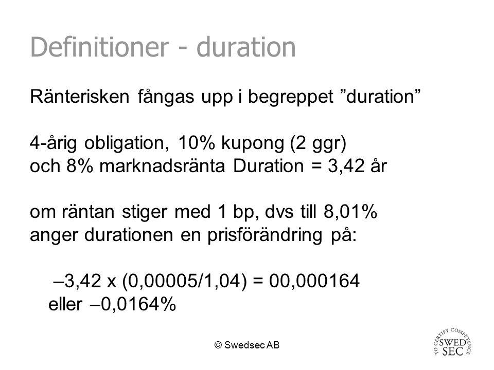 © Swedsec AB Duration för en kund Att placera i räntebärande placeringar år inte riskfritt.