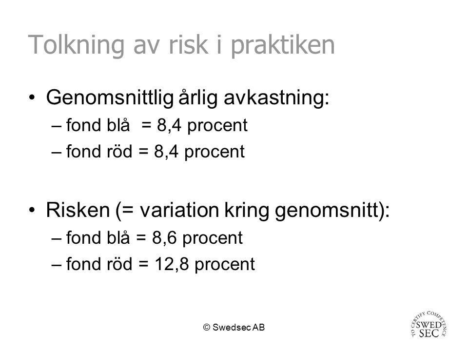 © Swedsec AB Grundläggande begrepp - tolkning Fond röd har högre risk än fond blå.