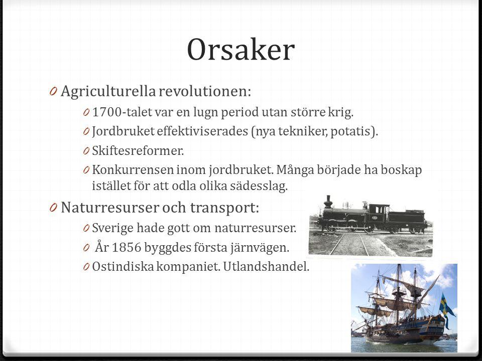 Orsaker 0 Agriculturella revolutionen: 0 1700-talet var en lugn period utan större krig. 0 Jordbruket effektiviserades (nya tekniker, potatis). 0 Skif