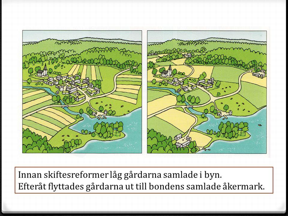 Innan skiftesreformer låg gårdarna samlade i byn. Efteråt flyttades gårdarna ut till bondens samlade åkermark.