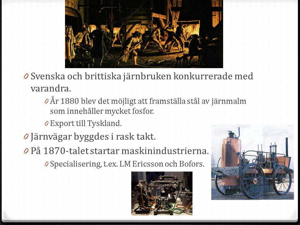 0 Svenska och brittiska järnbruken konkurrerade med varandra. 0 År 1880 blev det möjligt att framställa stål av järnmalm som innehåller mycket fosfor.