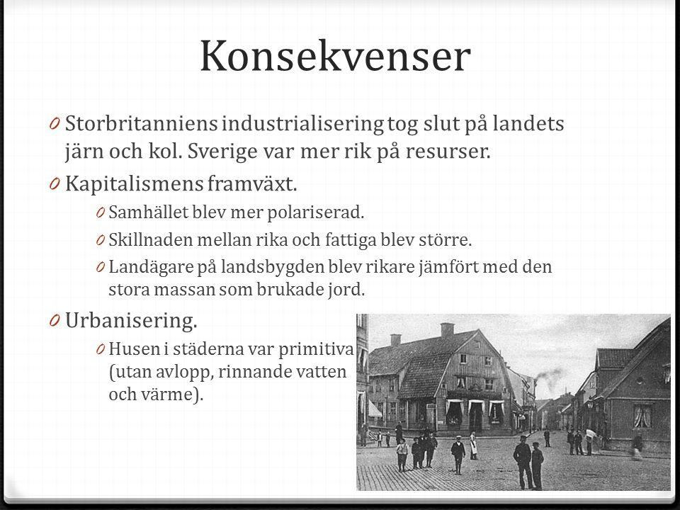 Konsekvenser 0 Storbritanniens industrialisering tog slut på landets järn och kol. Sverige var mer rik på resurser. 0 Kapitalismens framväxt. 0 Samhäl