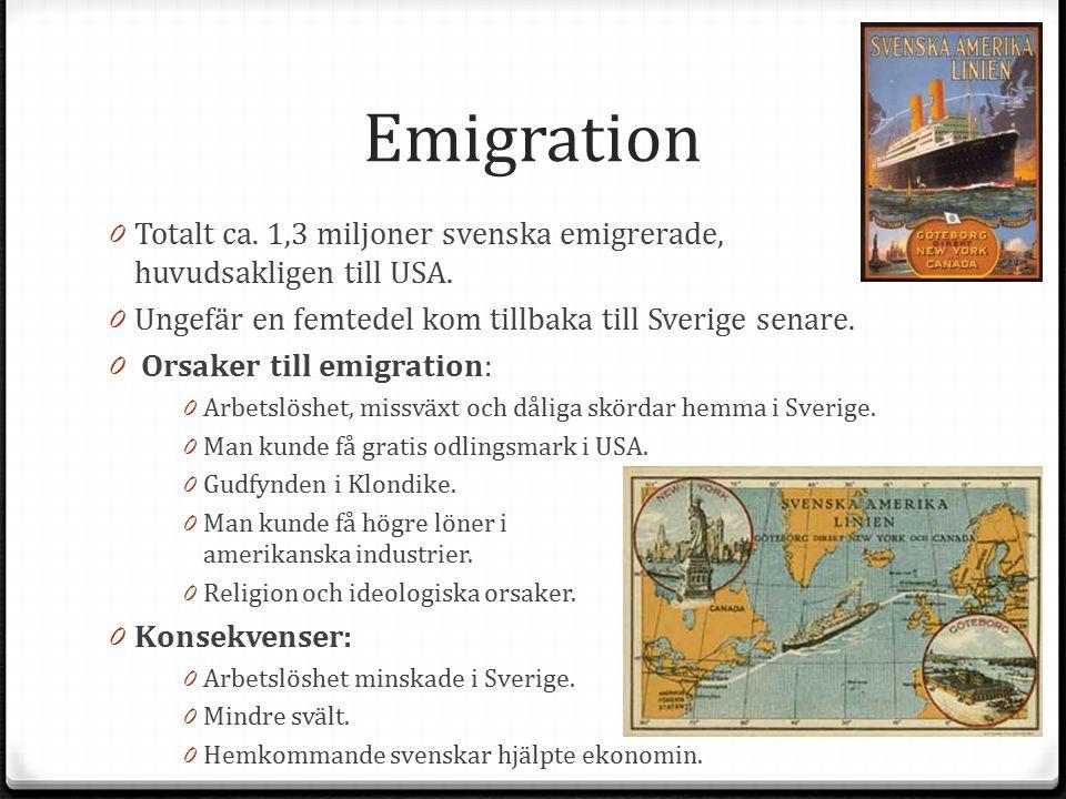 Emigration 0 Totalt ca. 1,3 miljoner svenska emigrerade, huvudsakligen till USA. 0 Ungefär en femtedel kom tillbaka till Sverige senare. 0 Orsaker til