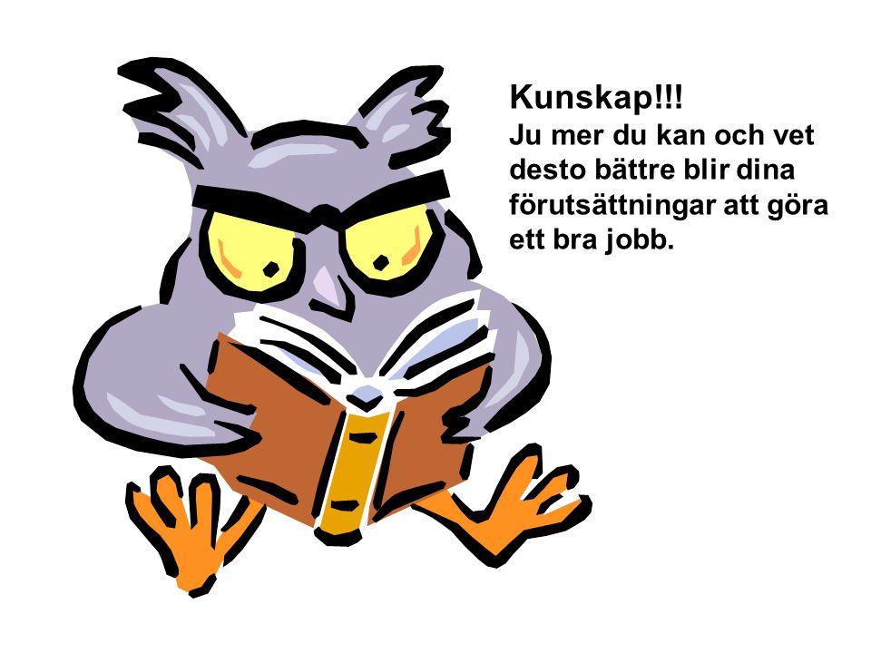 Kunskap!!! Ju mer du kan och vet desto bättre blir dina förutsättningar att göra ett bra jobb.