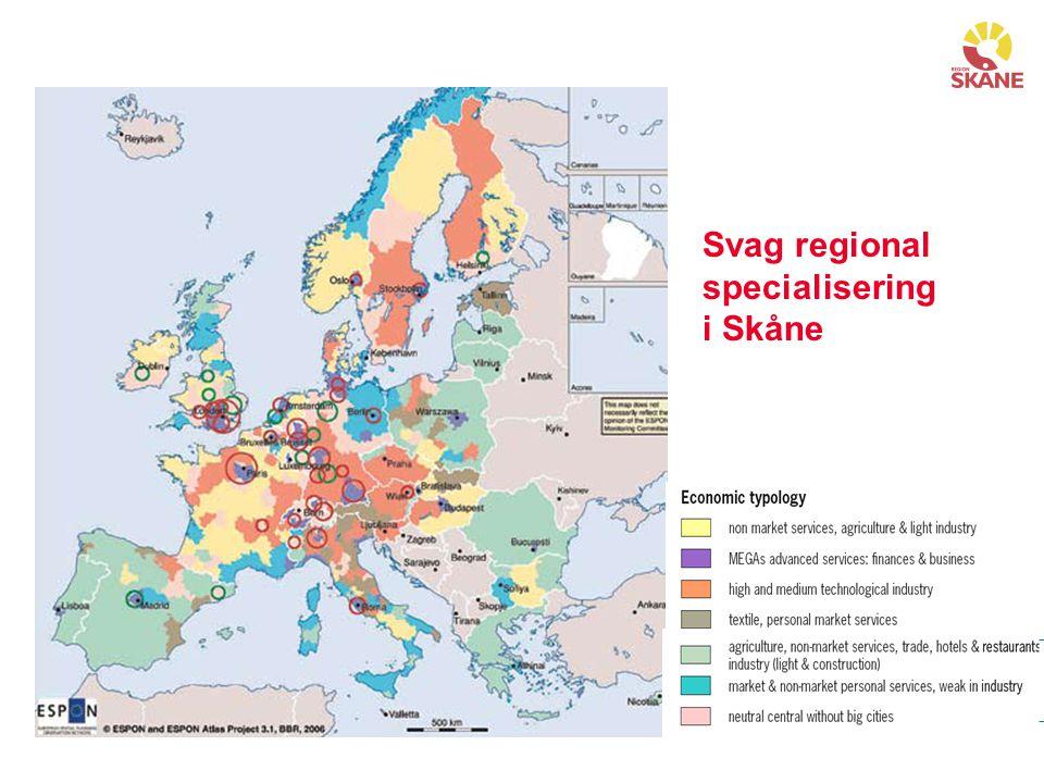 Svag regional specialisering i Skåne