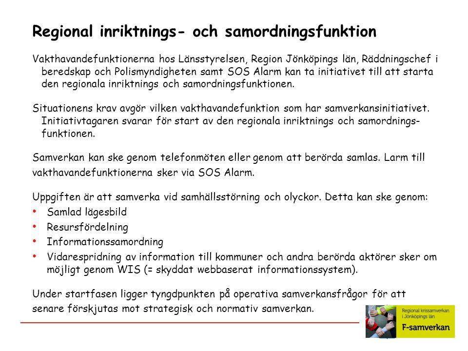 Regional inriktnings- och samordningsfunktion Vakthavandefunktionerna hos Länsstyrelsen, Region Jönköpings län, Räddningschef i beredskap och Polismyn