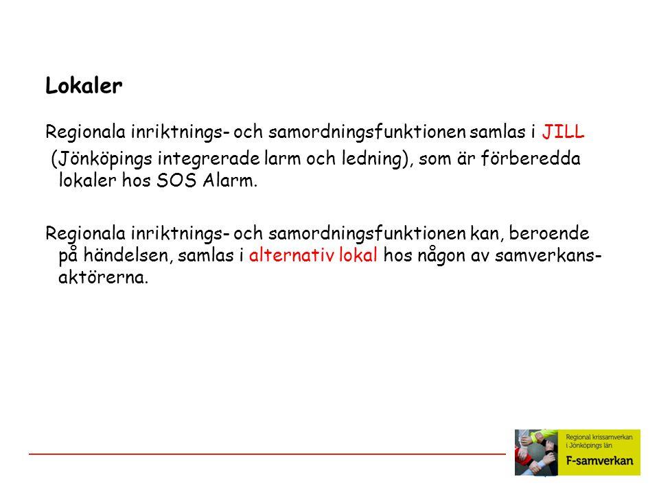 Lokaler Regionala inriktnings- och samordningsfunktionen samlas i JILL (Jönköpings integrerade larm och ledning), som är förberedda lokaler hos SOS Al