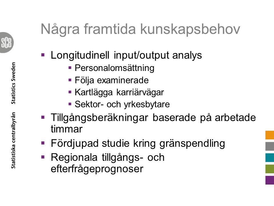 Några framtida kunskapsbehov  Longitudinell input/output analys  Personalomsättning  Följa examinerade  Kartlägga karriärvägar  Sektor- och yrkes
