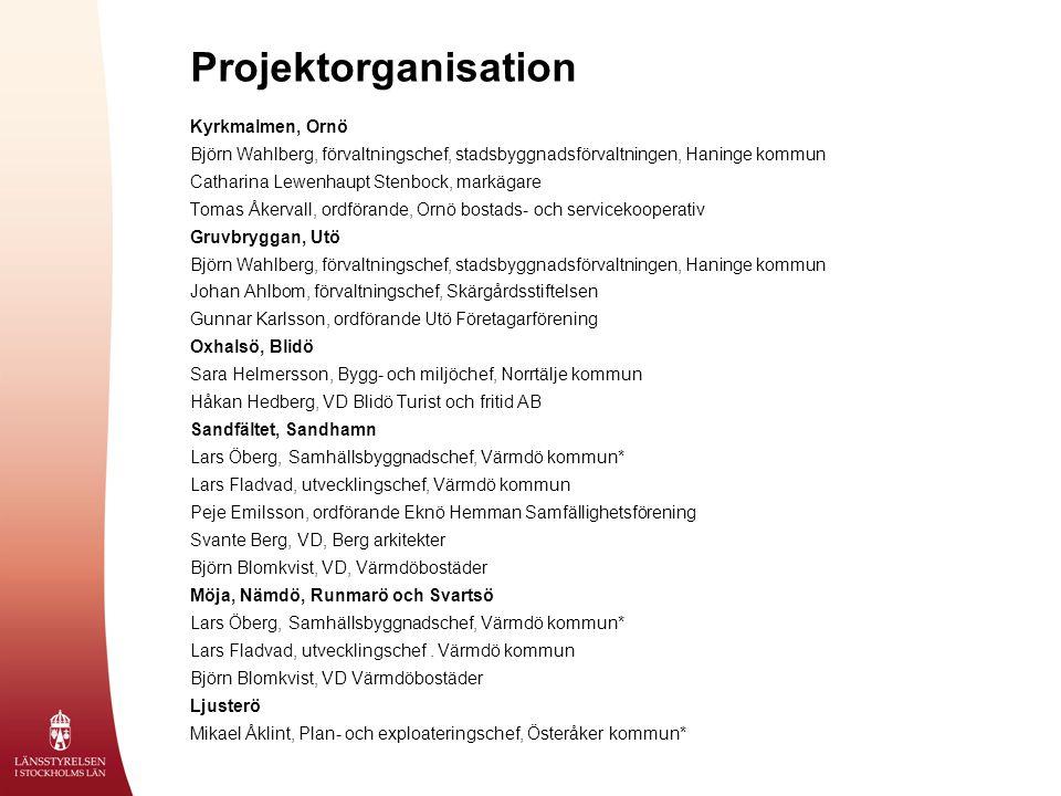 Projektorganisation Kyrkmalmen, Ornö Björn Wahlberg, förvaltningschef, stadsbyggnadsförvaltningen, Haninge kommun Catharina Lewenhaupt Stenbock, markä