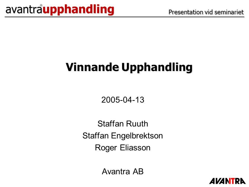Presentation vid seminariet 2005-04-13 Staffan Ruuth Staffan Engelbrektson Roger Eliasson Avantra AB Vinnande Upphandling