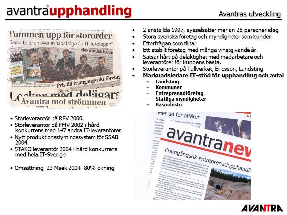 Avantras utveckling 2 anställda 1997, sysselsätter mer än 25 personer idag Stora svenska företag och myndigheter som kunder Efterfrågan som tilltar Ett stabilt företag med många vinstgivande år.