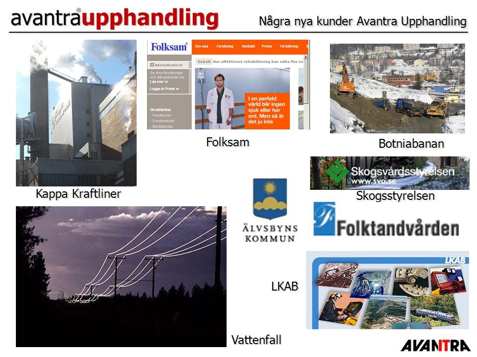 Några nya kunder Avantra Upphandling Kappa Kraftliner Botniabanan Vattenfall LKAB Folksam Skogsstyrelsen