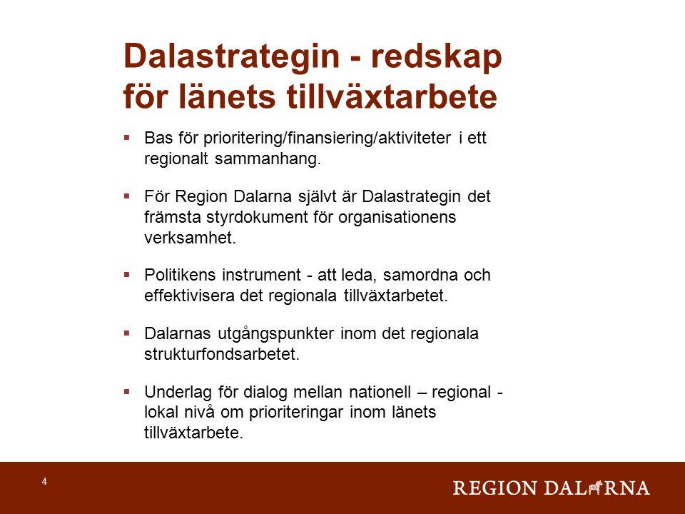 4 Dalastrategin - redskap för länets tillväxtarbete  Bas för prioritering/finansiering/aktiviteter i ett regionalt sammanhang.