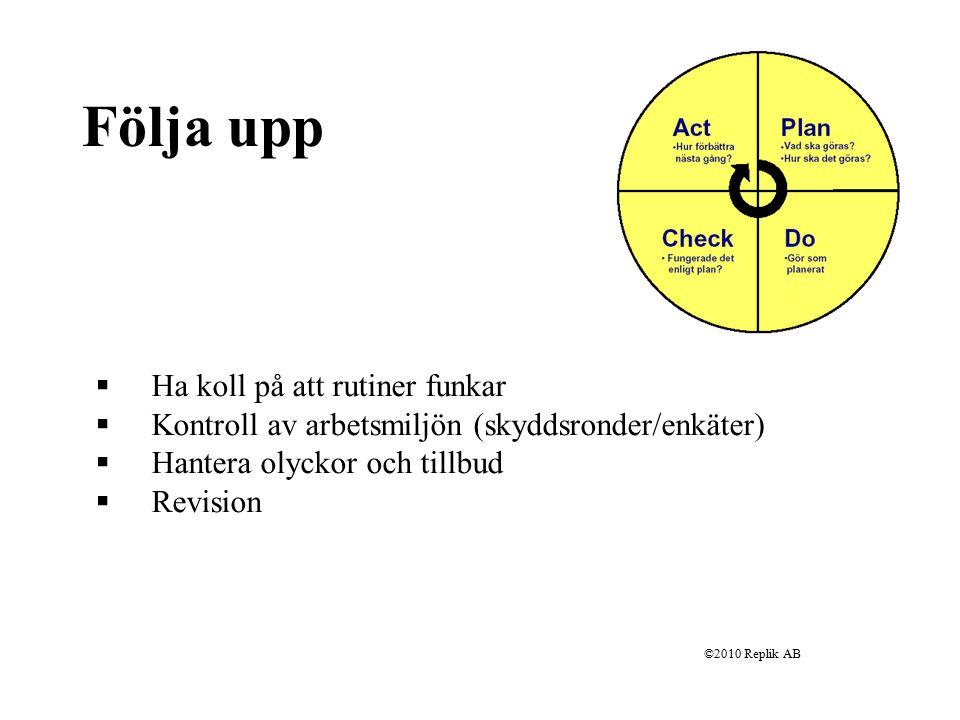 ©2010 Replik AB Utvärdering/Förbättring Jobbar vi med rätt saker.
