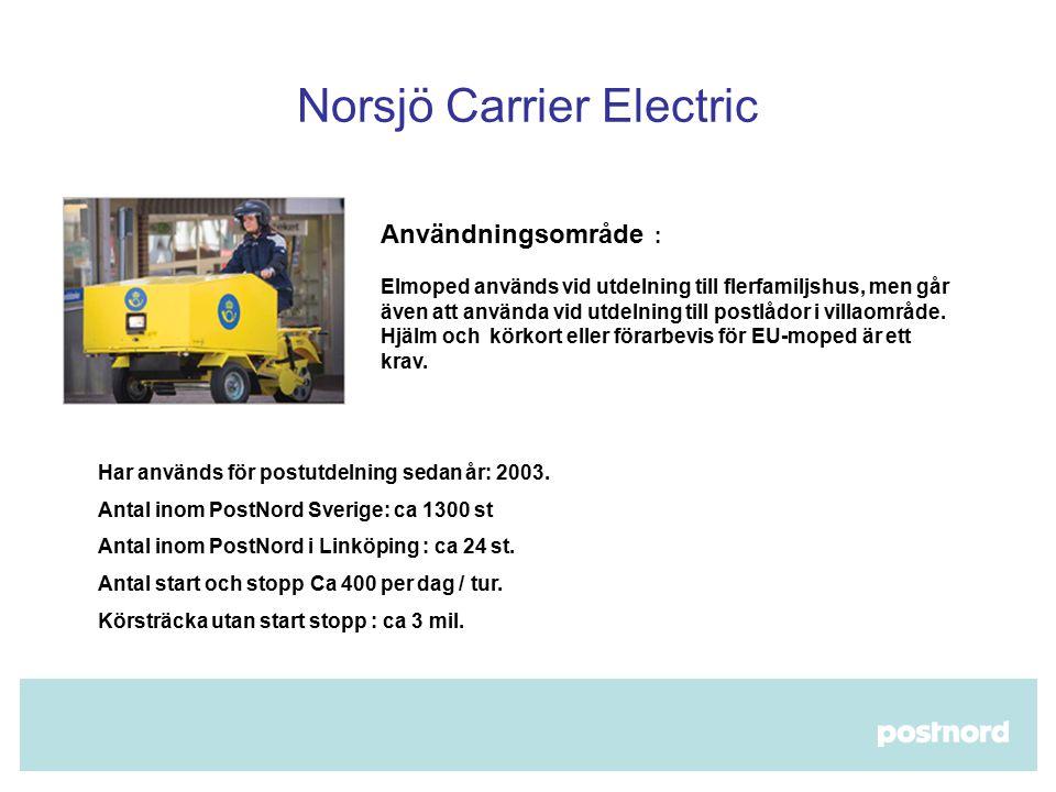 Norsjö Carrier Electric  Användningsområde : Elmoped används vid utdelning till flerfamiljshus, men går även att använda vid utdelning till postlådor i villaområde.