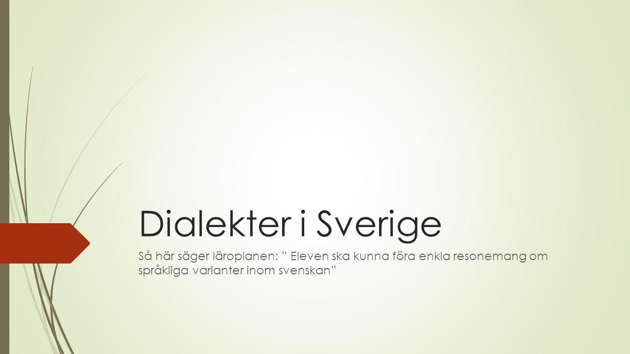 """Dialekter i Sverige Så här säger läroplanen: """" Eleven ska kunna föra enkla resonemang om språkliga varianter inom svenskan"""""""